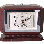JAZ Large Vintage French Art Deco Brown Bakelite Alarm Clock in Very Good Condition - Function