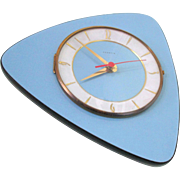 French 1950-60s Atomic Age Vedette Ato Transistor Blue Wall Clock - Funky Boomerang Shape - ..