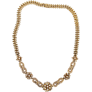 Victorian 15ct Gold and Seed Pearl Necklace