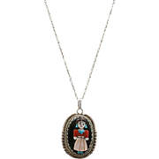 Vintage Zuni J Calavaza Sterling Silver and Multi-Stone Inlay Corn Maiden Pendant Necklace