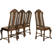 SALE Set of Four Queen Anne Walnut Cane Back Chairs Early 18th century