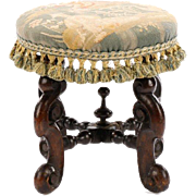SALE Continental, 18th century. William & Mary stained walnut and upholstered stool