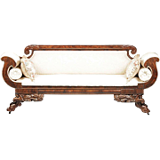 SALE American Classical Period Carved Mahogany and Upolstered Settee