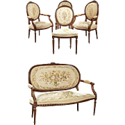 SALE 19th Century Five Piece French Louis XVI Style Carved Beech Salon