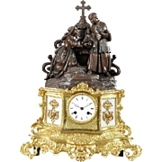 SALE French Patinated Spelter Gilt Brass and Milk Glass Mantel Clock