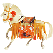 Vintage Japanese White Samurai Horse with Orange Trim
