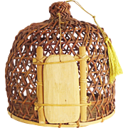Vintage Chinese Wicker Reed and Bambo Bird Cage / Bird Basket