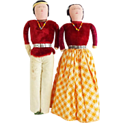 Vintage 1930s Navaho Skookum Cloth Dolls in Red Velvet and Yellow Gingham Check