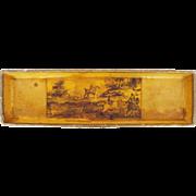 Antique French Napoleonic Papier Mache Pen Tray / Vide-Poche - Decoupage Equestrian Hunting ..