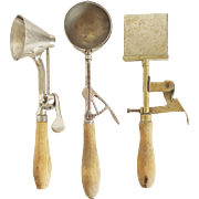 Set of 3 Early-20th-Century 1915-1925 Ice Cream Scoops -- Gilchrist, Mosteller, and Icypi