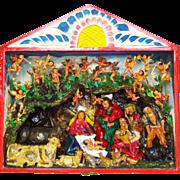 Vintage Large Peruvian Retablo of a Nativity Scene / Creche by Folk Artist Claudio Jimenes