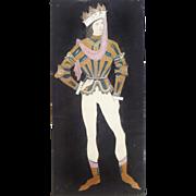 1920s Lev Bruni (Russian Artist) Theatre Costume Design in Pastels, Signed