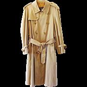 Vintage Men's Burberry Classic Khaki Trench Coat with Nova Check Lining Size 44 Large L