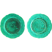 Pair of Antique 19th-Century French Majolica Barbotine Rubelles Plates with Man and Woman ...