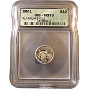 SALE 2001 ICG Perfect MS70 $10 Platinum Eagle!