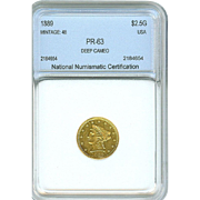 SALE SUPER RARE 1889 $2.5 Liberty GOLD Proof! Only 48 Minted! Only 35 known ...
