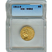 SALE 1911-S $5 Indian Gold Half Eagle MS-62 ICG