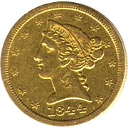 SALE Very Scarce & Early Date 1844 O $5 Liberty Half Eagle GOLD Piece!