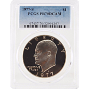 SALE 1977-S Ike Dollar Graded PR70 DCAM by PCGS! 1,800.00 Book Value!