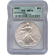 SALE 2000 ICG Perfect MS70 $1 SILVER Eagle!! $20,000 Book Value!