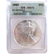 SALE 1998 Perfect ICG Graded MS70 $1 Silver Eagle!