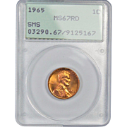 SALE Rare 1965 Lincoln Cent! PCGS Graded MS67RD! 425.00 Book Value!