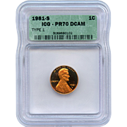 SALE 1981 S (Type 1) Lincoln Cent! ICG Graded PR70 DCAM! 4,000.00 Book ...