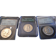 SALE PCGS/ICG Collection - Three Franklin Half Silver Dollars!