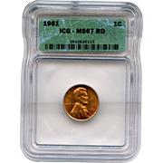 Rare Date 1961 Lincoln Cent! ICG Graded MS67RD!!! 4,500 Book Value!