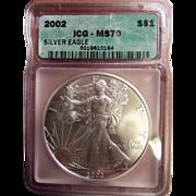$1,550.00 Coin? 2002 ICG Perfect MS70 $1 Silver Eagle!!