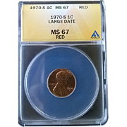Rare Date 1970 S Lincoln Cent! ANACS Graded MS67RD! 500.00 Book Value!
