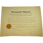 Woodrow Wilson Document Signed as President with Two Certificates of Authenticity!