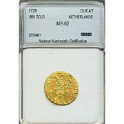 Extremely Rare! 1729 Netherlands .986 Gold Ducat - Certified MS62!