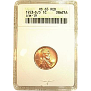 1 of 3 Exists - 1953-D/D/D RPM 19 Lincoln Cent - ANACS Graded MS65Red!