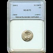 High Grade 1944 S Mercury Silver Dime! Graded MS68 FB!