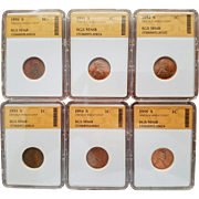 Collection of Six (6) Lincoln Cents 1950S to 1955S! All Graded MS68!!