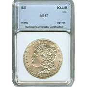 Very High Grade Rare Date 1887 Morgan Silver Dollar! Graded MS67!!