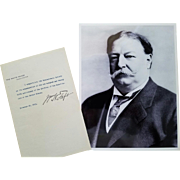 SALE President William Howard Taft - Typed Signed Letter on White House Letterhead as Presiden