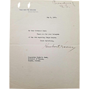 SALE Herbert Hoover - Typed Letter Signed on White House Letterhead as President.