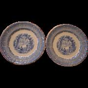 2 circa 1890 Blue Transfer soft past scenic historical  Venus pattern 10 inch plates
