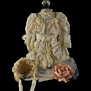 Beautiful Blush Silk Dress & Bonnet for Bru, Jumeau, Steiner