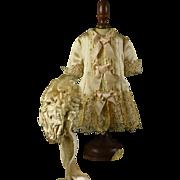 """Gorgeous Silk/Satin Dress & Bonnet for 19"""" Bru, Jumeau, Steiner, Gaultier"""