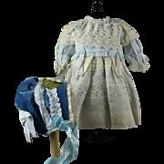 "Pretty White Cotton Dress/Bonnet for 22-23"" Bru, Jumeau, Steiner, Gaultier"