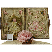 REDUCED Marvelous Antique Miniature Bisque Doll in Elaborate Trousseau, Circa 1900, For the ..