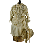Beautiful Vanilla Lace Dress and Lace Bonnet for Larger Bebe