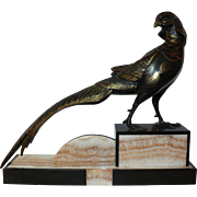 Cold Painted Chinese Pheasant on a Two Tone Marble Base.  French Art Deco Sculpture  c ...