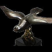 Art Deco Sculpture. Sea Bird on a Black Slate Base.  Vintage French Ornament c. 1920's