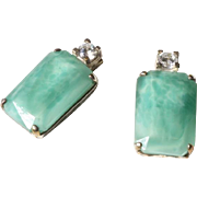 White Metal and Pale Green Paste Art Deco Style Earrings