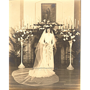 Wedding Picture Pretty Bride Veil Wedding Dress Flowers Candles Vintage Photograph 1950s