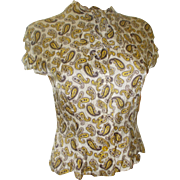 Silky Crop Blouse Paisley Brown Tan Yellow Cream Vintage Button Front Darted Blouse 1950s